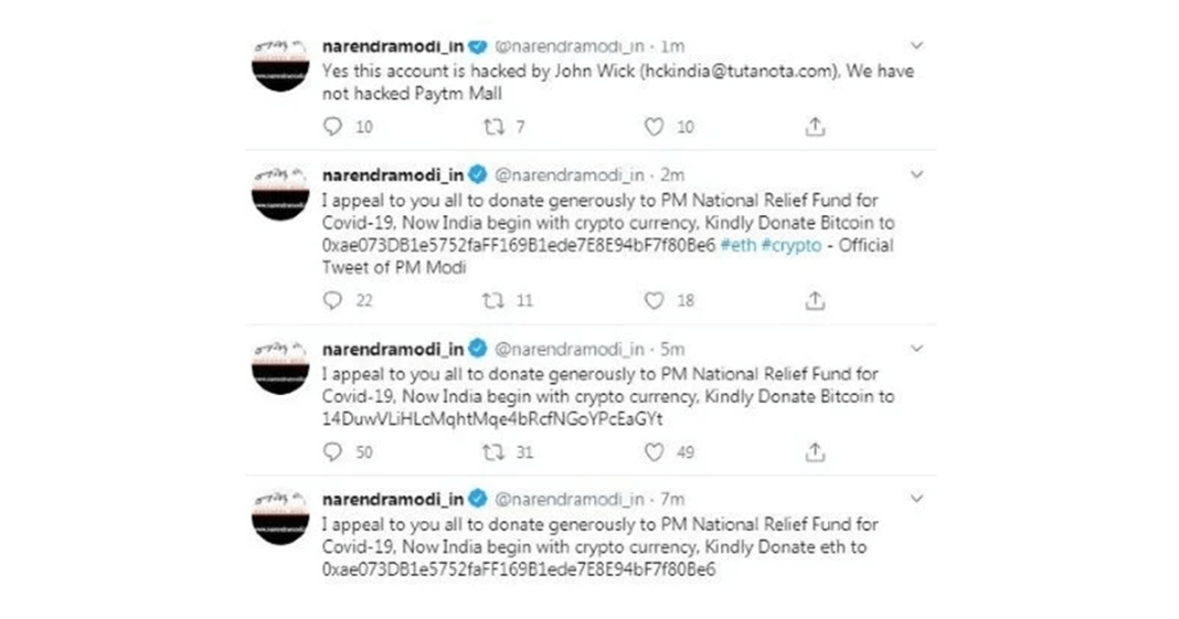 Twitter account of PM Modi's personal website hacked
