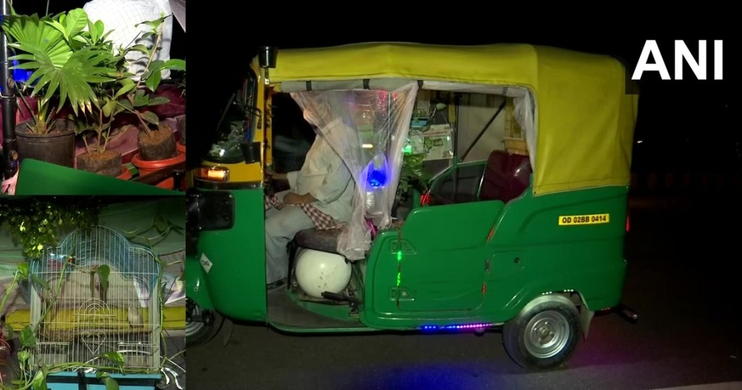 Bhubaneshwar auto driver Converts Vehicle Into a Garden With Plants, Fish, Birds and Rabbits Inside