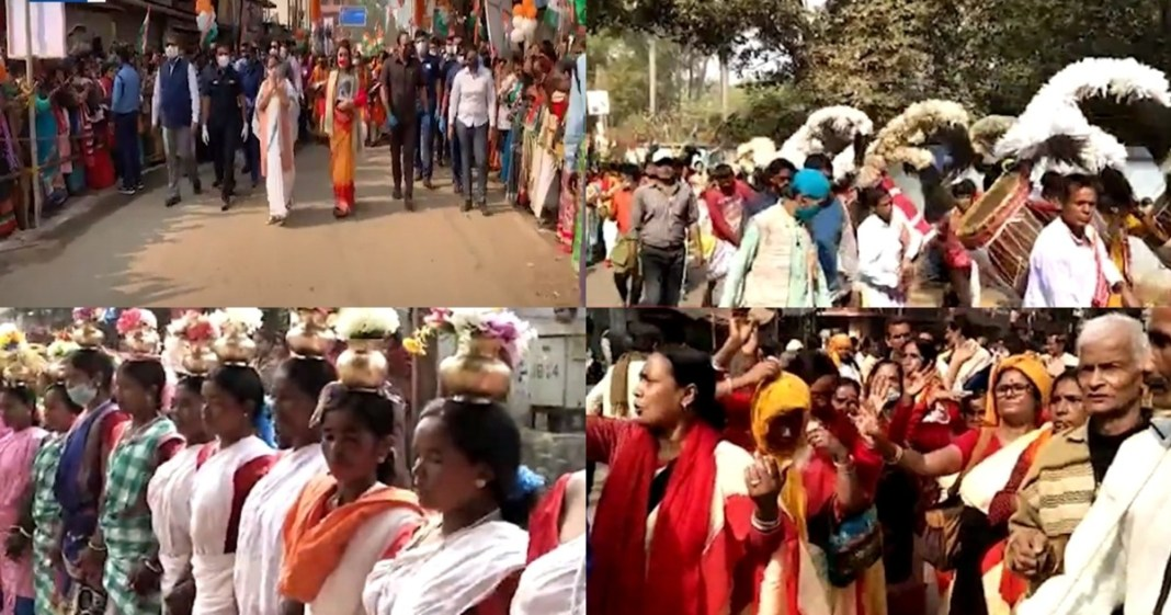 Chief Minister Mamata Banerjee's road show in Bolpur today