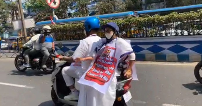 Mamata Banerjee Rides Electric Scooter To Protest Against Fuel Rates