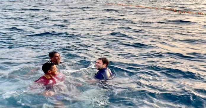 Rahul Gandhi jumps into Arabian Sea, swims with Kerala fishermen