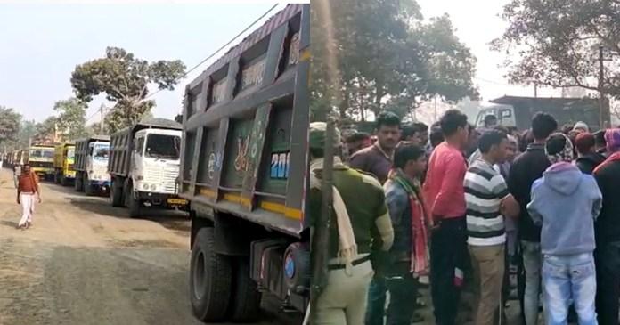 truck drivers block road at Rampurhat