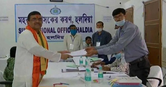 bjp candidate Shuvendu Adhikari submitted his nomination as a candidate from Nandigram