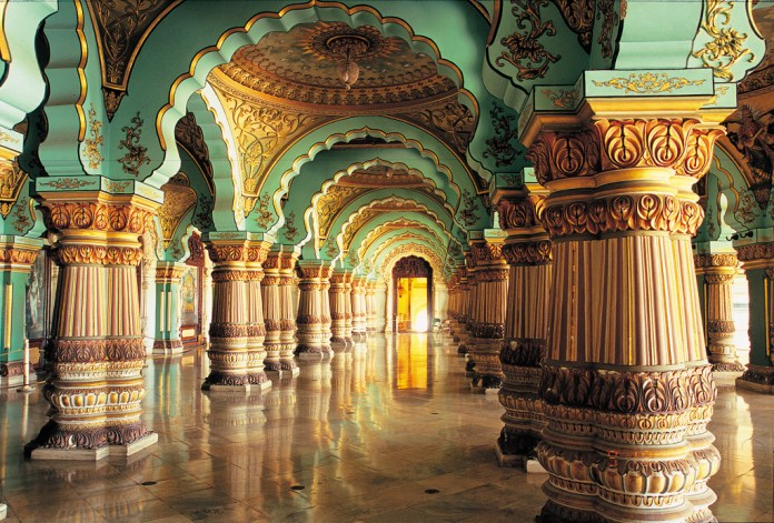 Photos: Sculpted columns in the majestic Durbar Hall within Mysore Palace -  Outlook Traveller