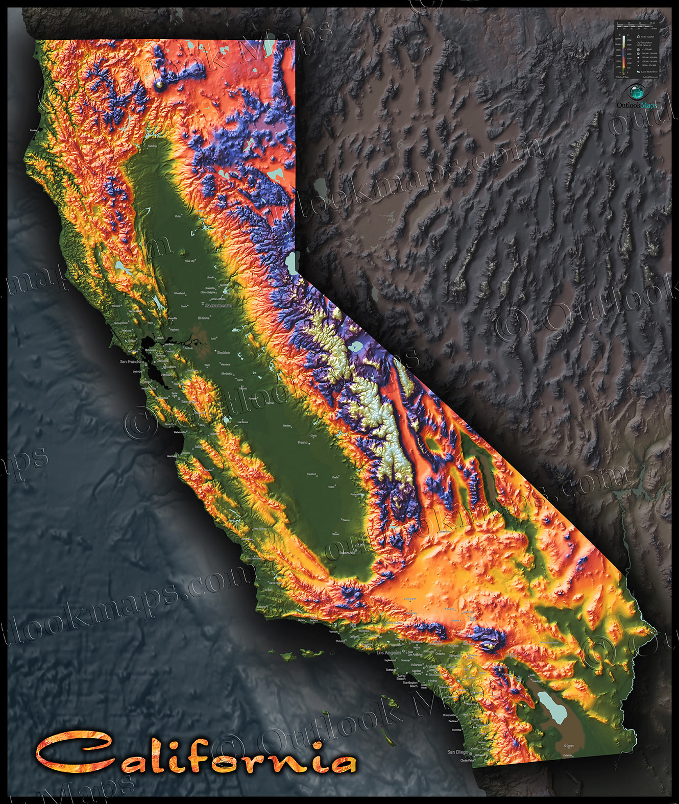 Colorful California Map