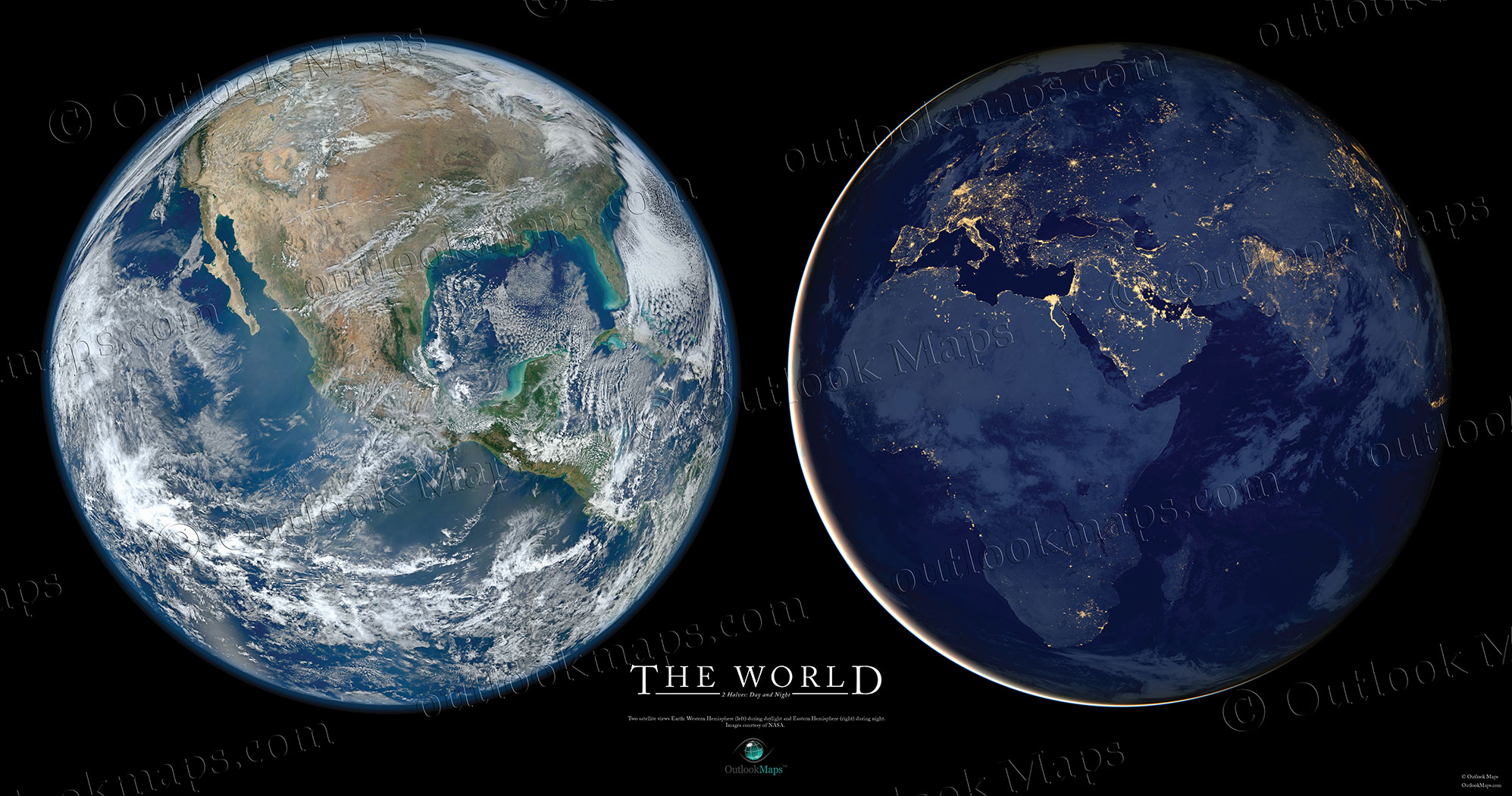 Poster Of Earth In Space One Side At Day