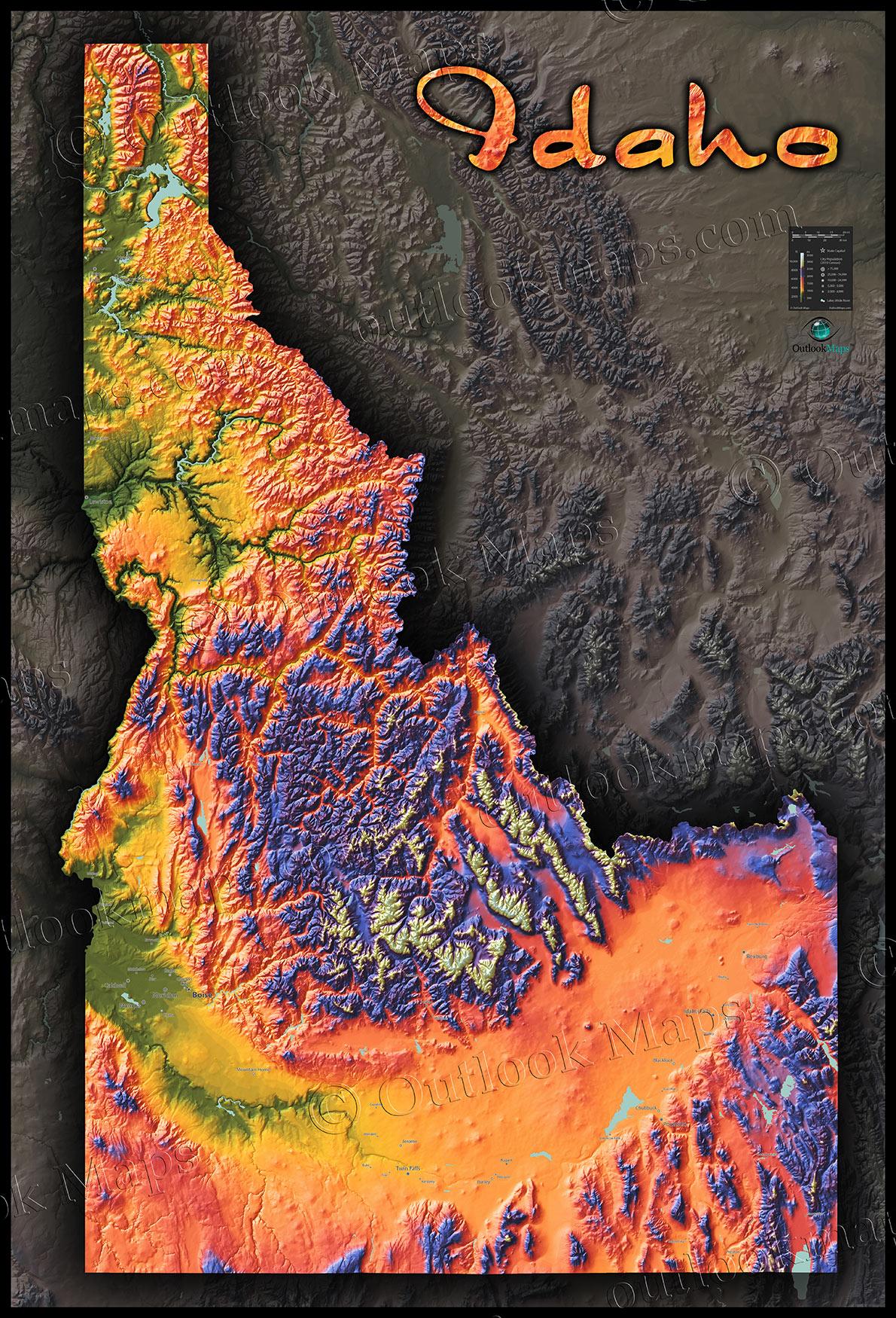 Colorful Idaho Map