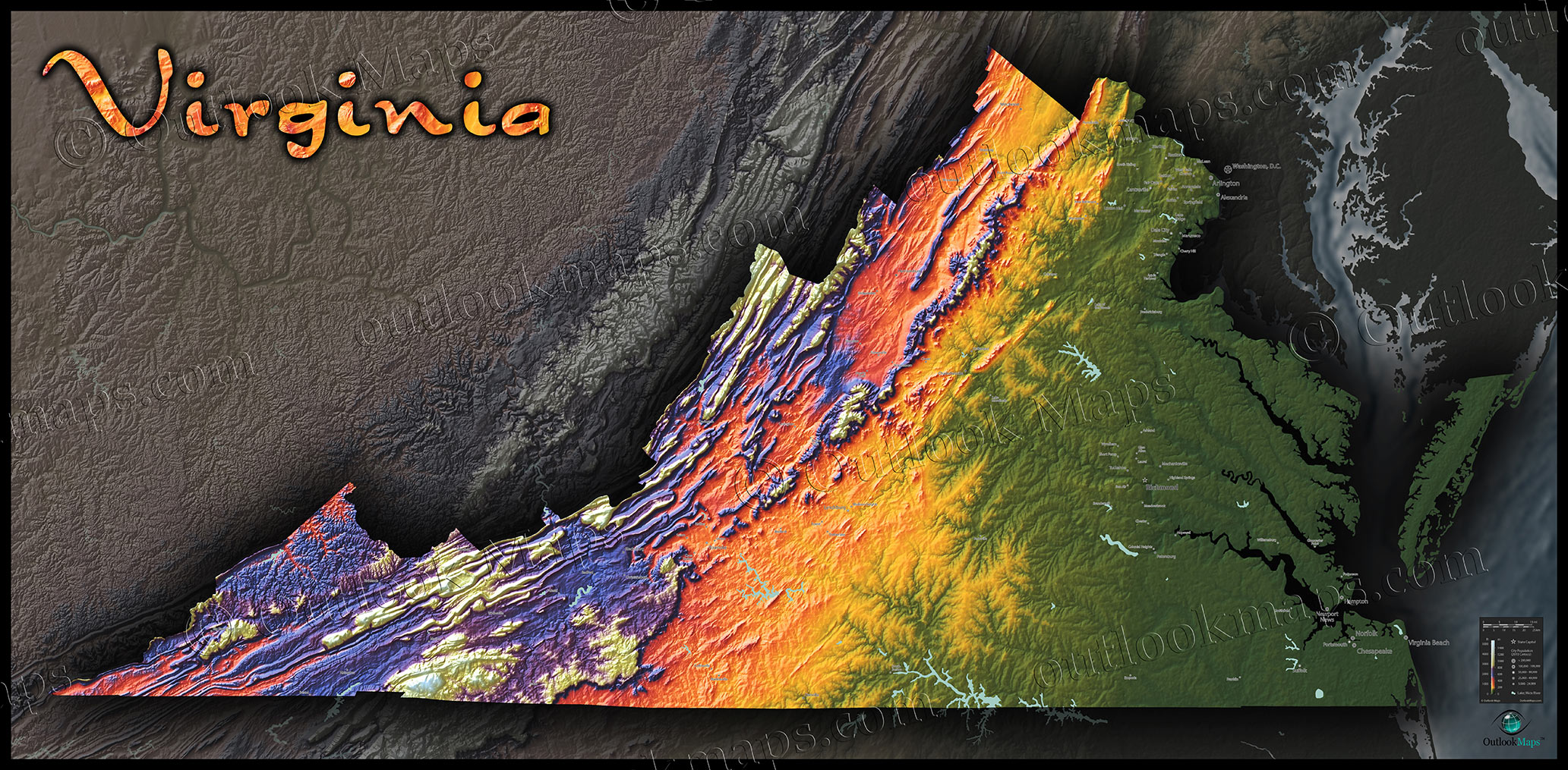 Virginia Topography Map