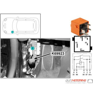 61368366646 MINI Cooper Replacement Relay: Steering Control Unit Fan K69923  MINI Cooper