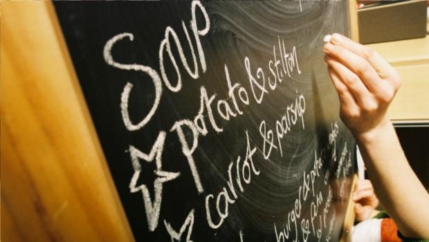 The cafe chalkboard menu
