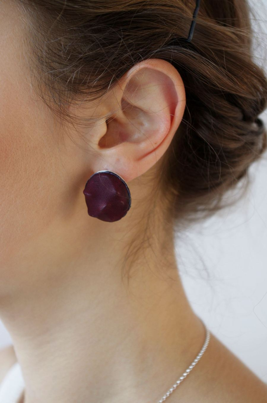 Burgundy Leather Earrings