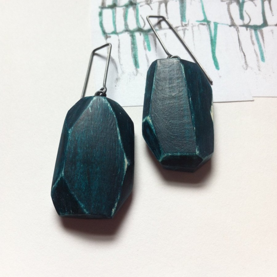 Green Linden Wood & Silver earrings