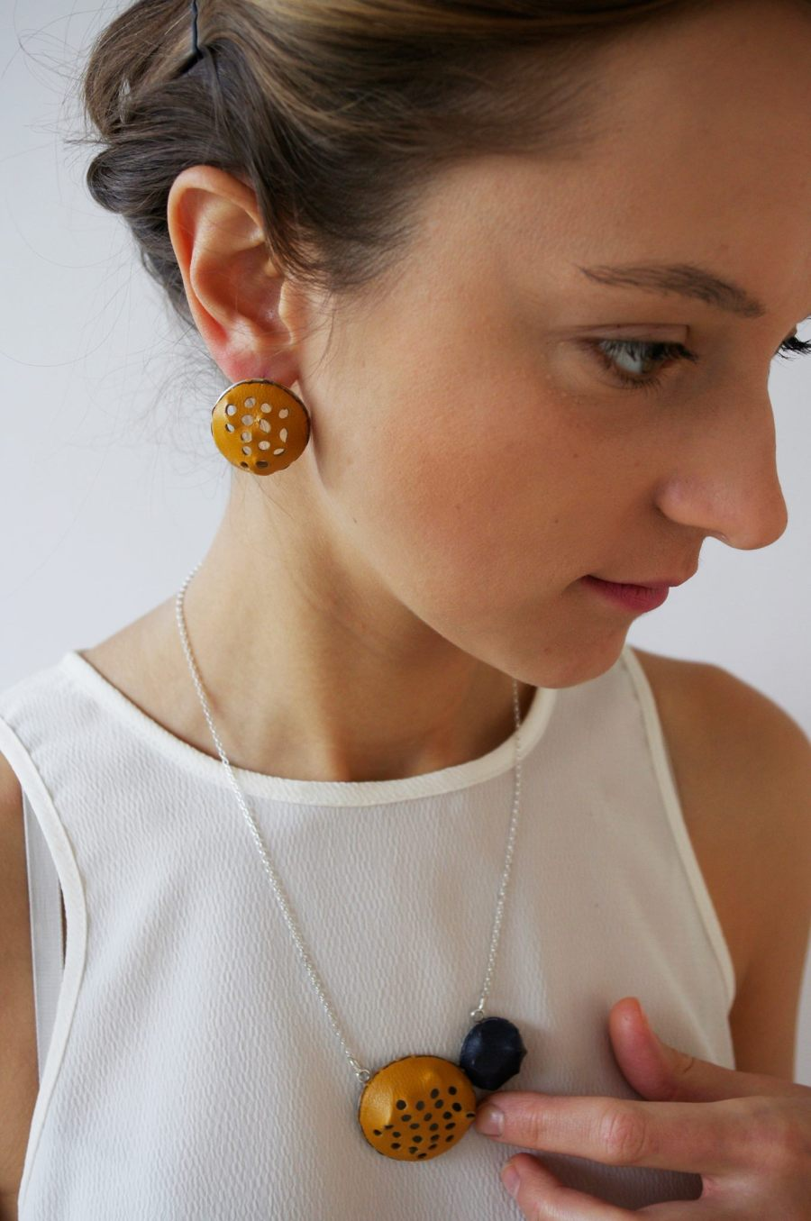 Yellow,Blue Leather Earrings, Pendant