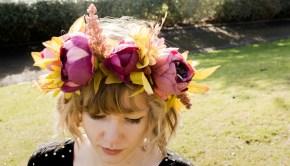 Woman wearing a flower crown