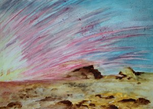 """Explosion Watercolour on paper 16"""" x 12"""""""