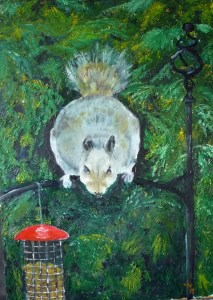 """""""Keep your eyes off my nuts"""" Oil on canvas board palette knife painting"""