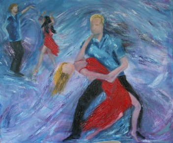 Oil painting in progress from Dancers series.