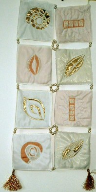 Diatoms Reverse applique with gold fabric & white silk. SOLD