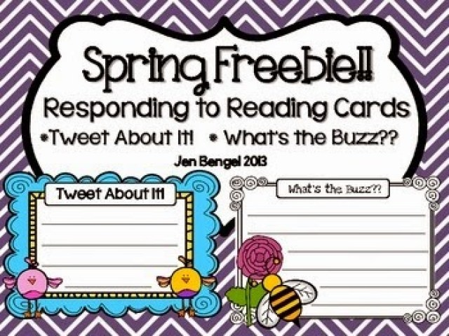 http://www.teacherspayteachers.com/Product/Spring-Freebie-Responding-to-Reading-CardsTweet-About-It-633710