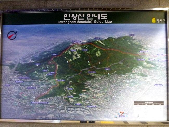 Inwangsan Mountain Map