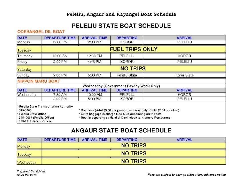 All the Schedules and Prices for Palau's State Ferries between Koror, Peliliu and Angour