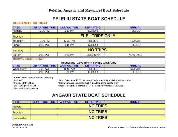 Angaur Peleliu Kayangel Koror Boat Schedule