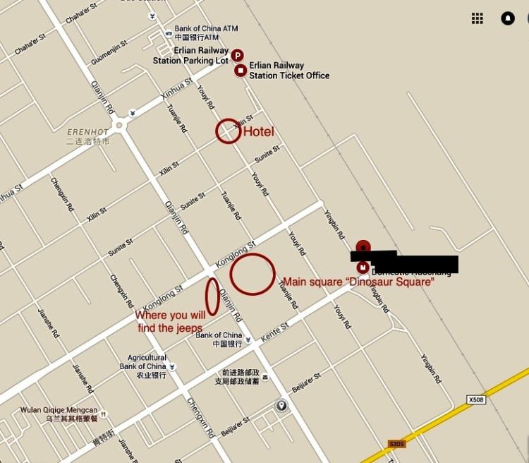 Erlian Erenhot Jeep border map
