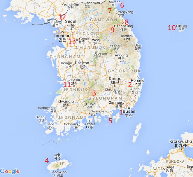 South Korea map tourist destinations