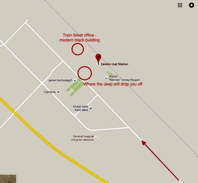 Zamiin Udd train station map