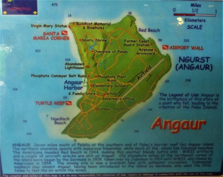 Mapa de mergulho de Angaur Palau