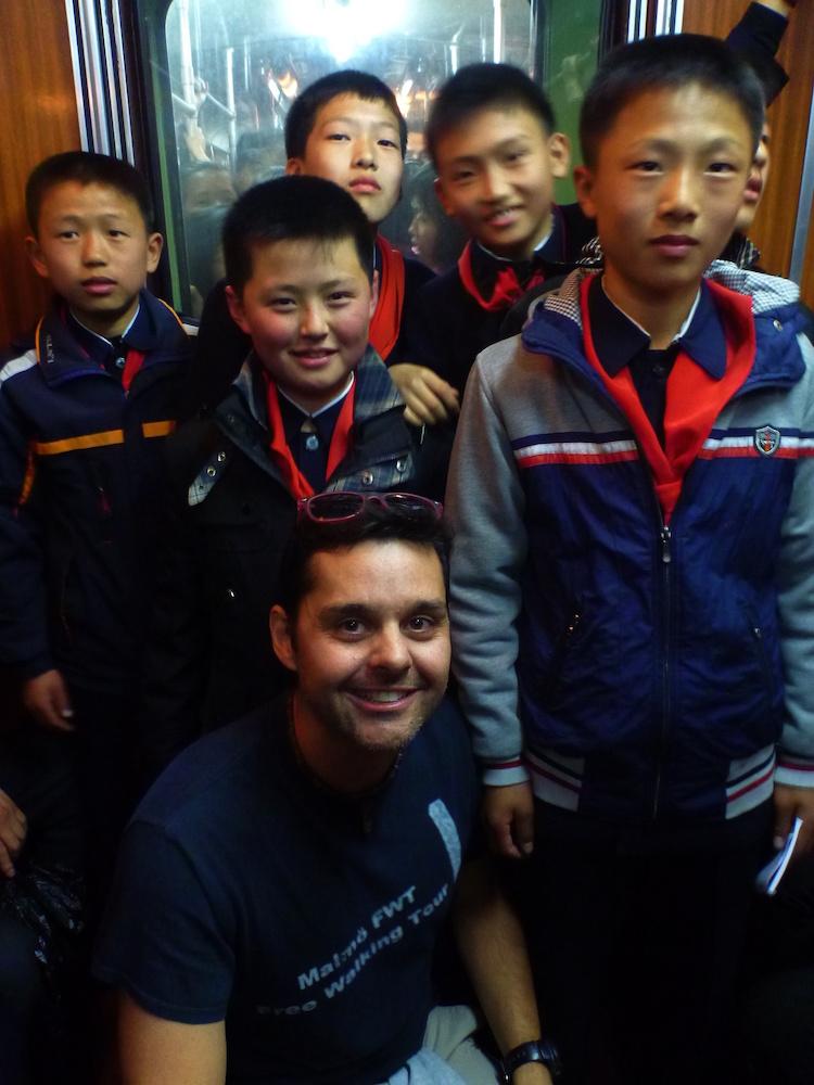 North Korean Children at Pyongyang Subway