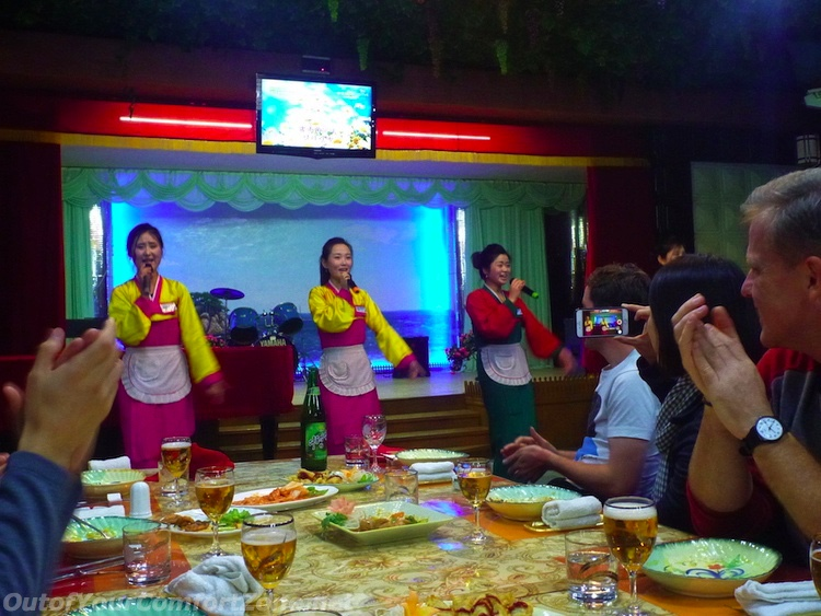 Performance by waitstaff Pyongyang North Korea Tour