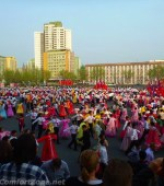 Kim il-sung birthday celebration mass dance Pyongyang North korea