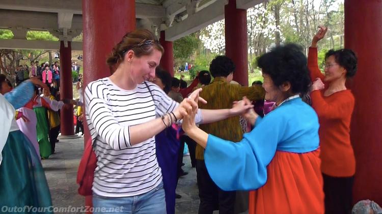Foreigner dancing park Pyongyang North Korea