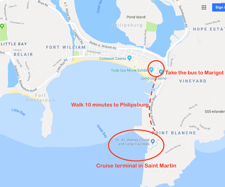 Map Saint Martin to Anguilla