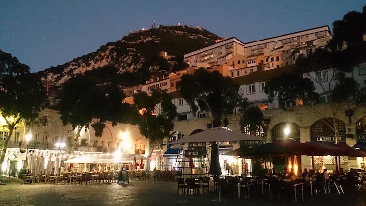 Gibraltar casemates main square at night
