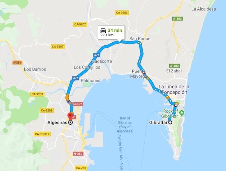 Map bus Algeciras to Gibraltar