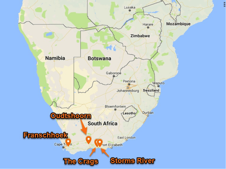 South Africa map small nice cities