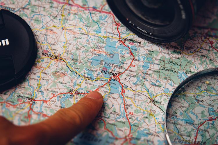 mapa roteiro de viagem