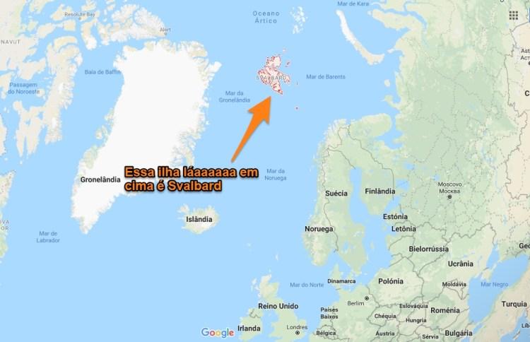 Mapa de Svalbard Noruega