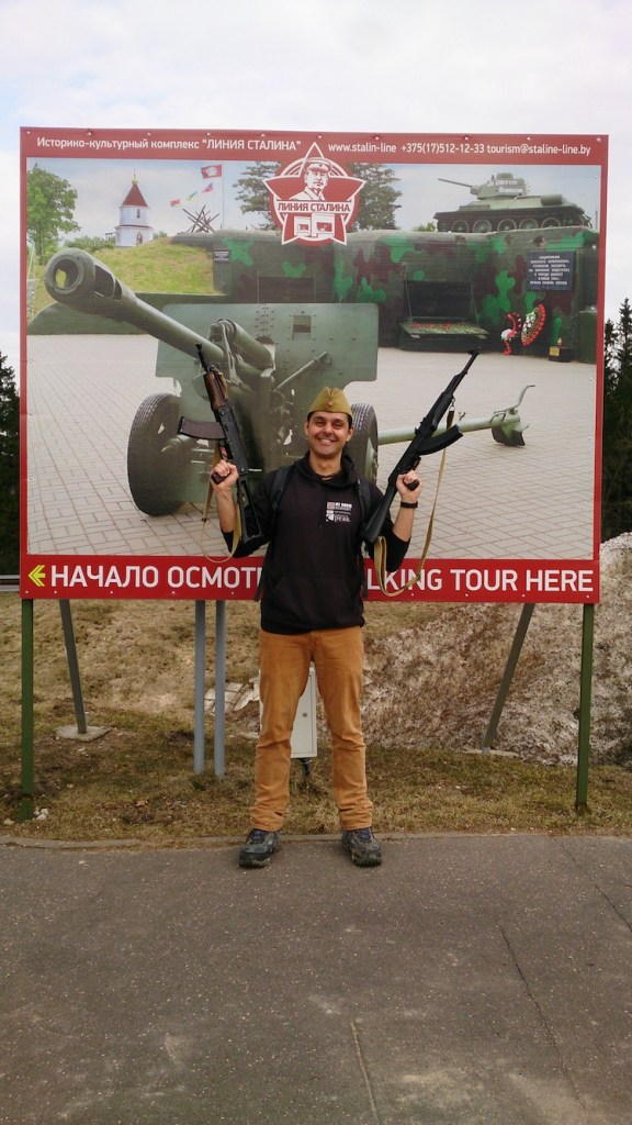Holding weapons at Stalin Line Belarus