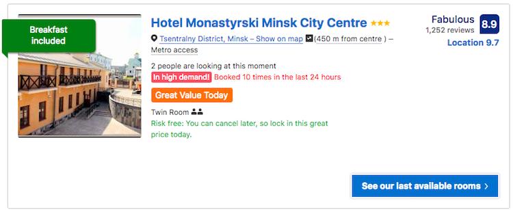 Hotel Monastyrski Minsk City Centre Belarus