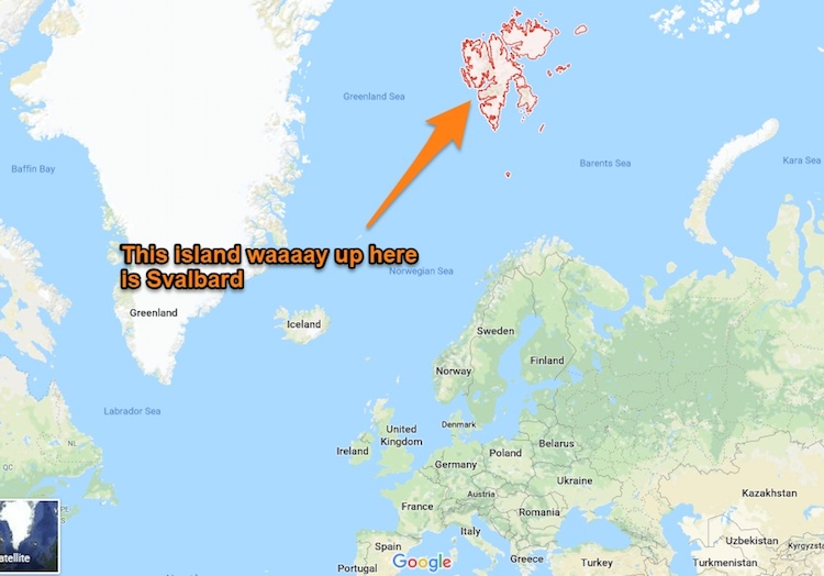 mapa localizando Svalbard