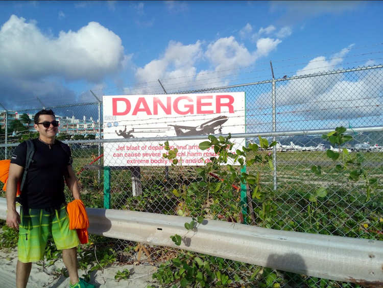 Saint Martin Airport Danger Sign