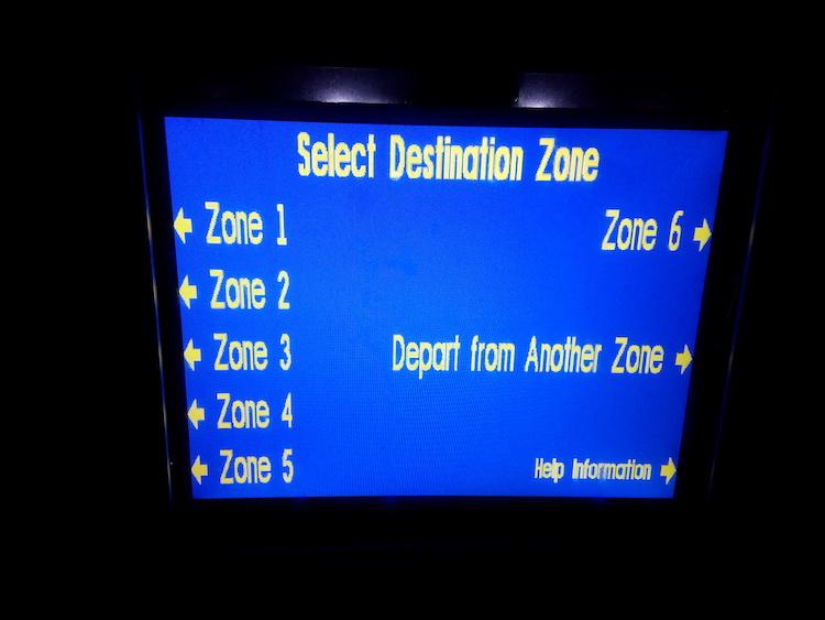 Caltrain machine screen
