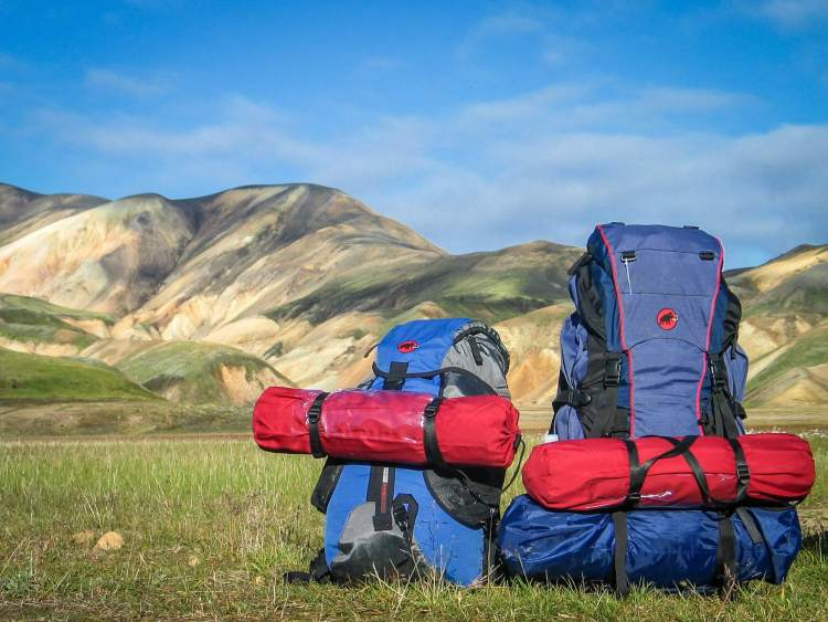 backpacks by the mountain