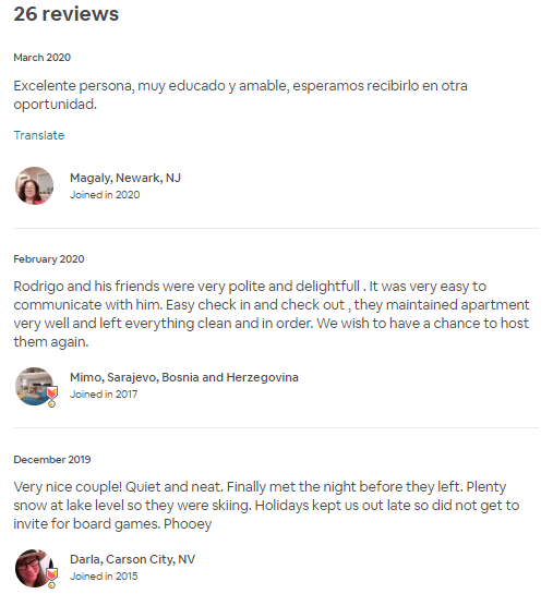 reviews on airbnb