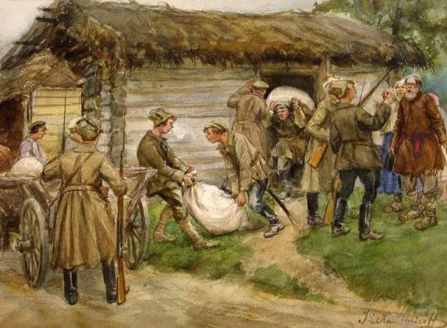 Bolcheviques requisando grano a campesinos, en una obra del pintor lituano Ivan Vladimirov (1869-1947). Estas requisas provocaban un gran descontento y fueron, en gran medida, causantes de la letal hambruna de 1921 y 1922.