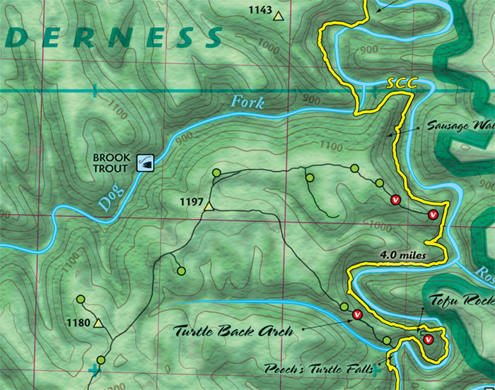 Red River Gorge Topographic Map.Red River Gorge Backpacking Map