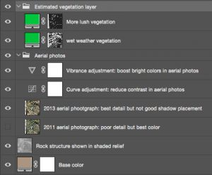 View the layering of the derived spatial data in Photoshop